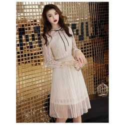 Elegant Medium Length Light Champagne Lace Long Sleeves Formal Dress Crew Neck Simple Back Prom Dress