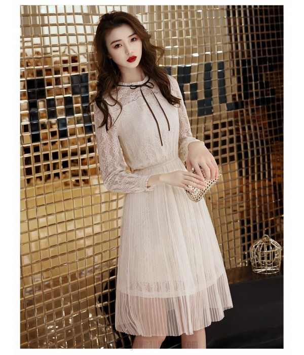 Elegant medium-length Light Champagne Lace Long Sleeves Formal Dress Crew-neck Simple Back Prom Dress New