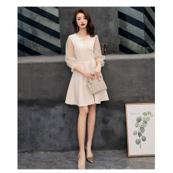 Elegant Short Champagne Chiffon Long Sleeve Formal Dress Invisible Zipper Bowknot Neckline Prom Dress