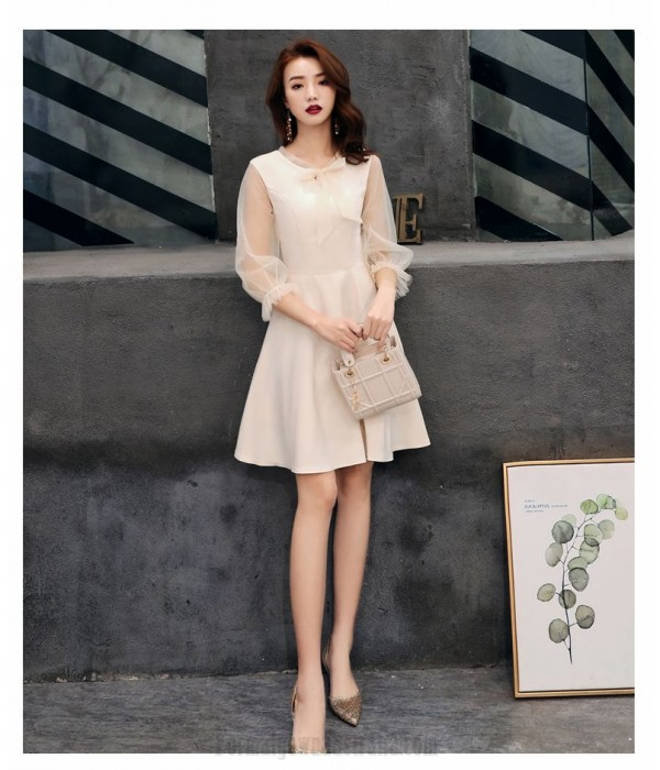 Elegant Short Champagne Chiffon Long Sleeve Formal Dress Invisible Zipper Bowknot Neckline Prom Dress New