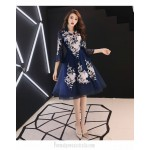 A-line Knee-length Exquisite Embroidery Long Sleeve Formal Dress Unique Stand Collar Invisible Zipper Back Prom Dress New