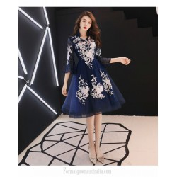 A-line Knee-length Exquisite Embroidery Long Sleeve Formal Dress Unique Stand Collar Invisible Zipper Back Prom Dress