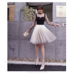Fashion Knee-length Satin Tulle Long Sleev Formal Dress Stand Collar Invisible Zipper Back Party Dress New