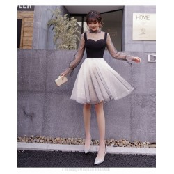 Fashion Knee Length Satin Tulle Long Sleev Formal Dress Stand Collar Invisible Zipper Back Party Dress