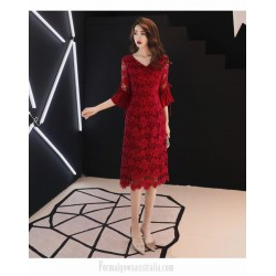 Sheath Column Medium Length Burgundy Lace Long Sleeve Formal Dress V Neck Invisible Zipper Back Evening Dress