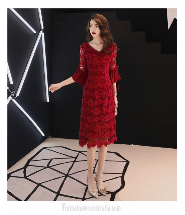 Sheath/Column Medium-length Burgundy Lace Long Sleeve Formal Dress V-neck Invisible Zipper Back Evening Dress New
