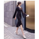 Fashion Medium-length Black Long Sleeve Formal Dress V-neck Zipper Back Prom Dress With Slit New