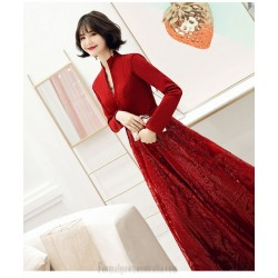 Brilliant Floor-length Burgundy Long Sleeve Formal Dress Stand Collar Hollow Lace-up Prom Dress With Sequines