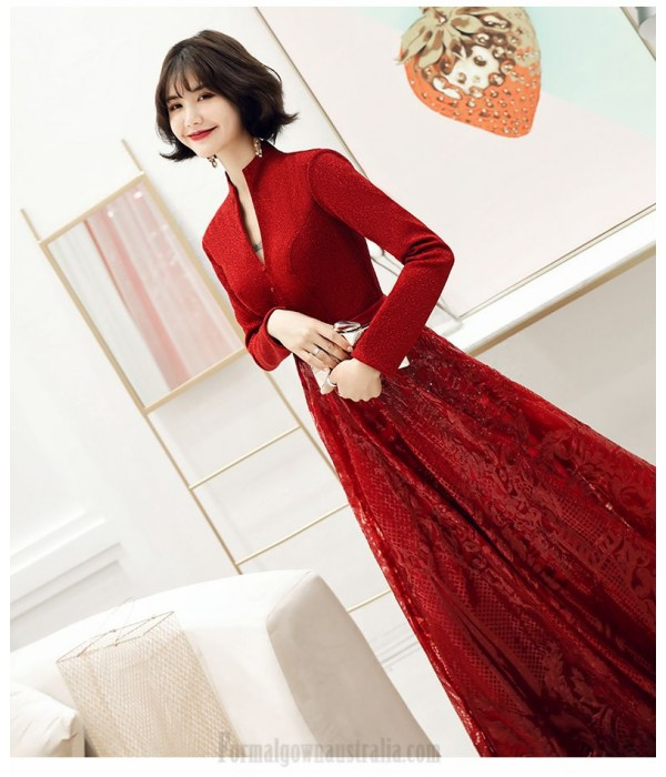 Brilliant Floor-length Burgundy Long Sleeve Formal Dress Stand Collar Hollow Lace-up Prom Dress With Sequines New