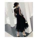 Fashion Medium-length Black Tulle Long Sleeve Formal Dress Invisible Zipper Back Illusion-neck Prom Dress With Sequines New