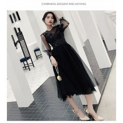 Fashion Medium-length Black Tulle Long Sleeve Formal Dress Invisible Zipper Back Illusion-neck Prom Dress With Sequines