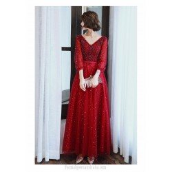 A-line Floor-length Burgundy Tulle Long Sleeve Formal Dress V-neck Lace-up Prom Dress With Sequines