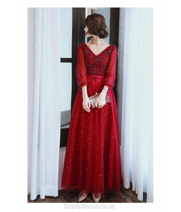 A-line Floor-length Burgundy Tulle Long Sleeve Formal Dress V-neck Lace-up Prom Dress With Sequines New