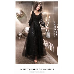 Fashion V Neck Black Long Sleeve Formal Dress Floor Length Lace Up Prom Dress With Sequines