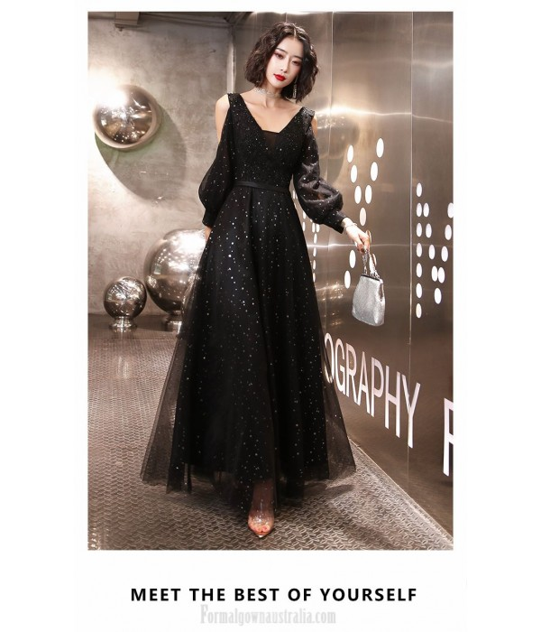 Fashion V-neck Black Long Sleeve Formal Dress Floor-length Lace-up Prom Dress With Sequines New