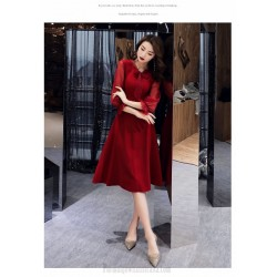 Fashion Medium-length Burgundy Chiffon Long Sleeve Formal Dress Zipper Back Bowknot Neckling Prom Dress