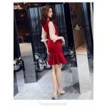 Sexy Sheath/Column Burgundy Chiffon Tulle Long Sleeve Formal Dress Bowknot Neckling Medium-length Evening Dress New