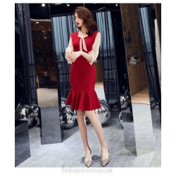 Sexy Sheath/Column Burgundy Chiffon Tulle Long Sleeve Formal Dress Bowknot Neckling Medium-length Evening Dress