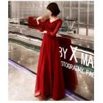 Fashion Floor-length Tulle Long Sleev Formal Dress V-neck Lace-up Evening Dress New