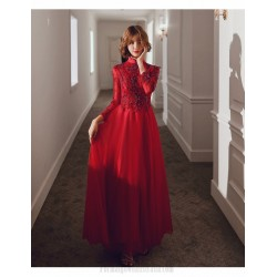 Glamorous Floor Length Burgundy Tulle Long Sleeve Formal Dress Stand Collar Hollow Lace Up Back Prom Dress With Sequines