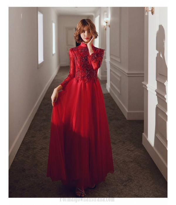 Glamorous Floor-length Burgundy Tulle Long Sleeve Formal Dress Stand Collar Hollow Lace-up Back Prom Dress With Sequines New