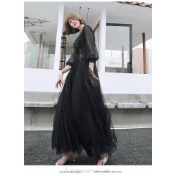 Noble Temperament Floor-length Black Long Sleeve Formal Dress V-neck Lace-up A-line Evening Dress With Sequines