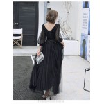 Noble Temperament Floor-length Black Long Sleeve Formal Dress V-neck Lace-up A-line Evening Dress With Sequines New