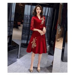 Noble Temperament Medium Length Red Satin Tulle Long Sleeve Formal Dress V Neck Zipper Back Exquisite Embroidery Prom Dress
