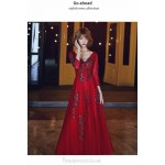 Brilliant V-neck Burgundy Tulle Long Sleeve Formal Dress With Sequines Floor-length Lace-up Back New