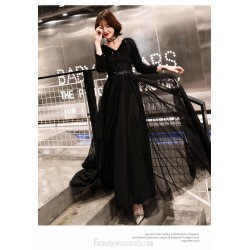 Noble Temperament Floor Length Invisible Zipper Back Black Long Sleeve Formal Dress With Sequines V Neck