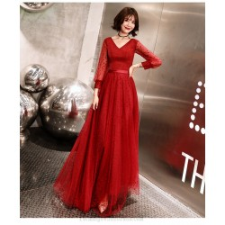 Fashion Floor Length Red Tulle V Neck Lace Up Long Sleeve Formal Dress