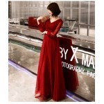 Fashion Floor-length Red Tulle V-neck Lace-up Long Sleeve Formal Dress New
