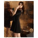 Fashion Short Black Chiffon Off The Shoulder Long Sleeve Formal Dress New