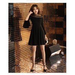 Fashion Short Black Chiffon Off The Shoulder Long Sleeve Formal Dress