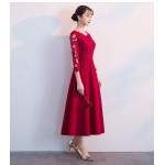 A-line Medium-length Red Chiffon Lace Long Sleeve Formal Dress Crew Nack Invisible Zipper Back New