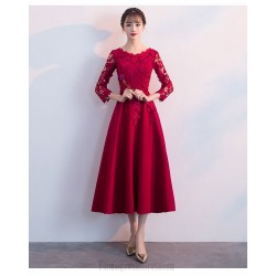 A-line Medium-length Red Chiffon Lace Long Sleeve Formal Dress Crew Nack Invisible Zipper Back