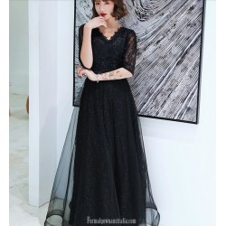 Noble Temperament A-line Floor length Black Tulle Semi Formal Dress With Sequins Half Sleeve Zipper Back V neck