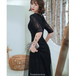 Noble Temperament A-line Floor length Black Tulle Semi Formal Dress With Sequins Half Sleeve Zipper Back V neck New