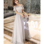 Romantic Floor length Grey Tulle Semi Formal Dress With Sequins Fashion Shoulder Strap Lace up Dress New