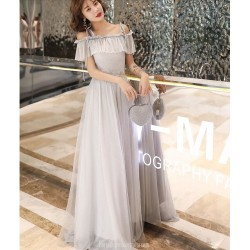 Romantic Floor length Grey Tulle Semi Formal Dress With Sequins  Fashion Shoulder Strap Lace up Dress
