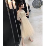 Cute A-line Medium length Champagne Tulle Semi Formal Dress With Sequins Fashion Shoulder Invisible Zipper Back Illusion neck New
