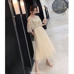 Cute A-line Medium length Champagne Tulle Semi Formal Dress With Sequins Fashion Shoulder Invisible Zipper Back Illusion neck
