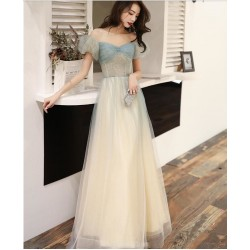 Summer A-line Floor length Haze Lace up Off The Shouder Blue Tulle Semi Formal  Dress With Beading