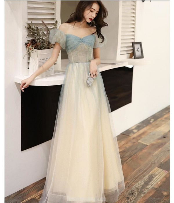 Summer A-line Floor length Haze Lace up Off The Shouder Blue Tulle Semi Formal Dress With Beading New