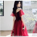 Fashion Medium length Illusion neck Lace up Red Tulle Semi Formal Dress New