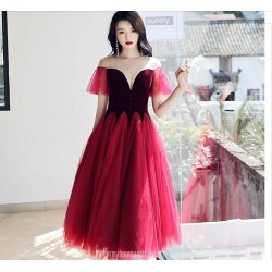 Fashion Medium length Illusion neck Lace up Red Tulle Semi Formal Dress