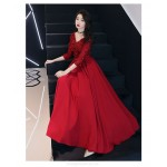 A-Line Floor length Red Chiffon Semi Formal Dress With Appliques Lace up Half Sleeve V neck New