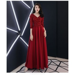A-Line Floor length Red Chiffon Semi Formal Dress With Appliques Lace up Half Sleeve V neck
