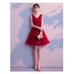 Sexy Short/Mini Red Tulle Semi Formal Dress With Appliques Lace up V neck New