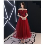 Fashion Medium length Red Tulle Semi Formal Dress With Appliques/Sequines Lace up Off The Shoulder Dress New